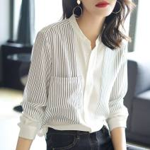shirt white 2/S,3/M,4/L,5/XL Summer 2021 polyester fiber 96% and above Long sleeves commute Regular stand collar Single row multi button routine stripe Straight cylinder Brother amashsin Korean version Stitching, printing Chiffon