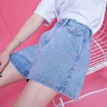 Casual pants White, blue 1/XS,2/S,3/M,4/L,5/XL Summer 2021 shorts Wide leg pants High waist Versatile Thin money 96% and above Brother amashsin pocket cotton