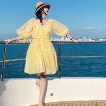 Dress Summer 2021 Yellow  2/S,3/M,4/L,5/XL Mid length dress singleton  elbow sleeve commute V-neck High waist Broken flowers Socket Princess Dress puff sleeve Others Type A Brother amashsin court 91% (inclusive) - 95% (inclusive) Chiffon polyester fiber