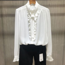 shirt White, black, blue 2/S,3/M,4/L,5/XL Spring 2021 polyester fiber 96% and above Long sleeves Versatile Regular Lotus leaf collar Single row multi button Lotus leaf sleeve Solid color Straight cylinder Brother amashsin