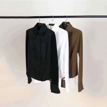 shirt White, black, army green 2/S,3/M,4/L,5/XL,6/XXL Spring 2021 cotton 51% (inclusive) - 70% (inclusive) Long sleeves commute Regular Polo collar Single row multi button routine Solid color Self cultivation Brother amashsin Ol style 5300031-221959-001