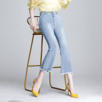 Jeans Summer 2021 wathet 1/XS,2/S,3/M,4/L,5/XL Ninth pants High waist Flared trousers routine Washable, Multi Pocket other light colour 1100271-354471-001 Brother amashsin 91% (inclusive) - 95% (inclusive)