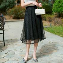 skirt Summer 2021 1/XS,2/S,3/M,4/L,5/XL,6/2XL Black, black dot Mid length dress Versatile High waist Fluffy skirt Dot Type A 1200323-1K37288-001 More than 95% Brother amashsin polyester fiber Asymmetry, web