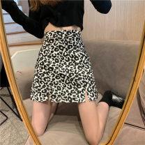 skirt Summer 2021 2/S,3/M,4/L,5/XL Black, brown Short skirt commute High waist A-line skirt Leopard Print Type A 71% (inclusive) - 80% (inclusive) Brother amashsin polyester fiber printing Retro