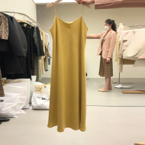 Dress Spring 2021 Apricot, yellow, green S,M,L,XL Mid length dress singleton  Sleeveless commute Solid color Socket A-line skirt camisole 18-24 years old Type A Korean version