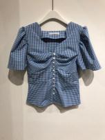 shirt Blue, green S,M,L,XL Summer 2021 other 51% (inclusive) - 70% (inclusive) Short sleeve commute Regular V-neck puff sleeve lattice 18-24 years old Korean version fold