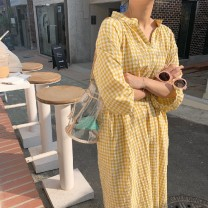 Dress Other / other yellow Average size Korean version elbow sleeve Medium length summer V-neck lattice Pure cotton (95% and above)