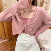 Women's large Summer 2021 Blue loose sunscreen blouse + sling backing, pink loose sunscreen blouse + sling backing L [100-120 Jin], XL [120-140 Jin], XXL [140-160 Jin], XXXL [160-175 Jin], XXXXL [175-200 Jin] Other oversize styles
