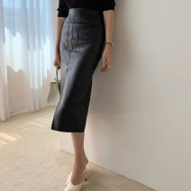 skirt Spring 2020 XS,S,M,L,XL Black, milky white Mid length dress Versatile High waist Solid color Type H 18-24 years old Other / other PU