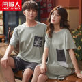 Pajamas / housewear set female NGGGN Women's: m, women's: l, women's: XL, women's: XXL, men's: l, men's: XL, men's: XXL, men's: XXXL M1818,V55810,V55811,V55812,M3019,V55815,V55816,MY902,MY911,MY912,MY913,MY917,MY919,MY920 cotton Short sleeve Simplicity pajamas summer Thin money Crew neck Solid color
