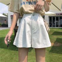 Casual pants Special rate of welfare in live broadcasting room M Summer 2020 shorts Wide leg pants High waist commute routine 18-24 years old 81% (inclusive) - 90% (inclusive) cotton Korean version Button cotton