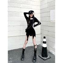 Dress Spring 2021 Black, black second batch XS,S,M,L,XL Short skirt singleton  Long sleeves commute High waist stripe Socket A-line skirt routine 18-24 years old Type A Ruko Hang Korean version