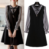 Women's large Autumn of 2018 black Dress singleton  commute easy moderate Socket Long sleeves Stripe, solid color Korean version V-neck Medium length Cellulose acetate Three dimensional cutting pagoda sleeve wave 91% (inclusive) - 95% (inclusive) Medium length other bow