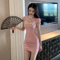 Dress Summer 2021 Pink, blue S,M,L,XL Short skirt singleton  Short sleeve commute stand collar High waist Solid color A button Pencil skirt routine Others 18-24 years old Retro Pleated, hollowed out, stitched 31% (inclusive) - 50% (inclusive) brocade polyester fiber