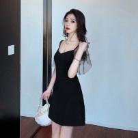Dress Summer 2020 black S,M,L Short skirt singleton  Short sleeve commute V-neck High waist Solid color zipper A-line skirt other camisole 18-24 years old Korean version Open back, stitching, mesh