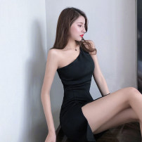 Dress Summer of 2019 black S,M,L Short skirt singleton  Sleeveless commute Slant collar High waist Solid color Socket One pace skirt other Oblique shoulder 18-24 years old Other / other Korean version Hollow out, open back, stitching, asymmetric