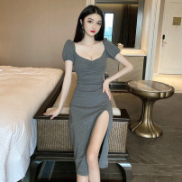 Dress Summer 2020 Dark grey, black S, M Middle-skirt singleton  Short sleeve commute V-neck High waist Solid color Socket One pace skirt puff sleeve Others 18-24 years old Korean version Pleating, asymmetry 31% (inclusive) - 50% (inclusive)