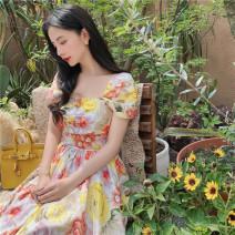 Dress Summer 2020 Decor XS,S,M,L Mid length dress singleton  Short sleeve One word collar Decor Type X MR water 20F130 More than 95% polyester fiber