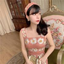 Dress Summer 2020 Orange pink XS,S,M,L Mid length dress singleton  Sleeveless commute One word collar camisole Type X MR water Retro 20D183 More than 95% hemp