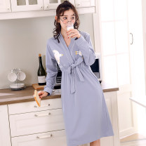 Nightdress Han Ruiduo 356835673615 bean paste, 3616 pink, 580158025803580458055806580758085809 M [80-100 Jin], l [100-120 Jin], XL [120-140 Jin], XXL [140-160 Jin], 3XL [160-180 Jin] Sweet Long sleeves Leisure home longuette autumn Solid color youth V-neck cotton printing More than 95% pure cotton