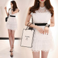 Dress Summer of 2019 white S,M,L,XL Mid length dress singleton  Sleeveless commute Crew neck High waist Solid color Socket One pace skirt routine Others 25-29 years old Type H lady Cut out, stitching, lace 51% (inclusive) - 70% (inclusive) brocade nylon