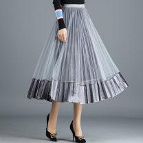 skirt Autumn of 2019 Mid length dress commute High waist Pleated skirt Solid color Type A knitting Korean version