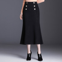 skirt Winter of 2019 2-foot, 2-foot, 2-foot, 2-foot, 2-foot, 2-foot, 4-foot, 2-foot, 2-foot, 2-foot, 4-foot, 2-foot, 2-foot, 2-foot, 2-foot, 4-foot, 4-foot, 2-foot, 2-foot, 2-foot, 4-foot black longuette fresh High waist skirt Solid color Type H 91% (inclusive) - 95% (inclusive) knitting Chen Biao
