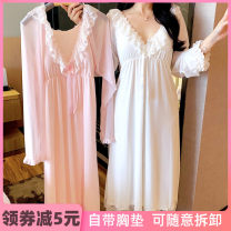 Nightdress Ji Yi 160(M),165(L),170(XL) Sweet Long sleeves pajamas longuette autumn Solid color youth V-neck viscose  lace More than 95% Modal fabric 200g and below