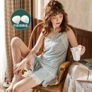 Pajamas / housewear set female Ji Yi M,L,XL Dark blue suit (with breast pad), fruit green suit (with breast pad), dark blue nightdress (with breast pad), fruit green nightdress (with breast pad), dark blue suit (without breast pad), fruit green suit (without breast pad) viscose  camisole Sweet summer