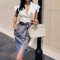 Fashion suit Summer 2021 S,M,L White top, purple grey skirt OCY0605 OCY0425