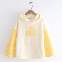 Sweater / sweater Winter 2021 Off white M Long sleeves routine Socket singleton  Plush Hood easy Sweet pagoda sleeve Color matching 18-24 years old 51% (inclusive) - 70% (inclusive) Other / other cotton Printing, splicing cotton Cotton liner solar system