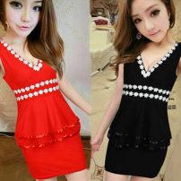 Dress Summer 2020 White, black, rose, pink, red, yellow, sky blue, blue S,M,L Short skirt singleton