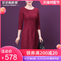Dress Autumn 2020 gules L XL 2XL 3XL 4XL Mid length dress singleton  three quarter sleeve commute Crew neck High waist zipper routine 40-49 years old Type H Gangan world Simplicity GQ1727 More than 95% polyester fiber Polyester 95% polyurethane elastic fiber (spandex) 5% Pure e-commerce (online only)