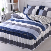 Bedding Set / four piece set / multi piece set cotton other stripe 128x68 Jiuzhou Island cotton 4 pieces 40 Youth is like a song - coffee, love nest (4-piece set), Legend - grey, under Mount Fuji (4-piece set), splendid life (4-piece set) Bed skirt Qualified products Simplicity 100% cotton twill