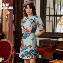 Dress Summer 2021 Green flowers S M L XL Mid length dress singleton  elbow sleeve street middle-waisted Abstract pattern zipper other routine 25-29 years old T-type MIKIBANA printing D12OD9010 More than 95% polyester fiber Polyester 100% Same model in shopping mall (sold online and offline)