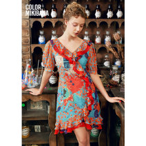 Dress Summer 2021 Blue flower S M L XL Mid length dress singleton  elbow sleeve street V-neck middle-waisted Socket Ruffle Skirt routine 25-29 years old T-type MIKIBANA backless M02OD0921 More than 95% polyester fiber Polyester 100% Same model in shopping mall (sold online and offline)