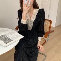 Dress Winter 2020 Black, beige Average size Mid length dress singleton  Long sleeves commute V-neck High waist Socket 25-29 years old Type H Korean version Stitching, lace