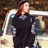 T-shirt black M,L,XL,XXL Autumn of 2019 Long sleeves High collar Straight cylinder bishop sleeve commute Viscose 51% (inclusive) - 70% (inclusive) 30-34 years old ethnic style literature Plants and flowers The story of two TX0548 Embroidery