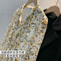 Dress Spring 2021 Broken flowers S,M,L Mid length dress singleton  Long sleeves commute V-neck High waist Decor A-line skirt puff sleeve Type X Other / other Simplicity Oil painting Floral Dress More than 95% Chiffon polyester fiber