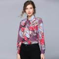 shirt Purple (all kinds of famous flowers) non positioning printing bow S,M,L,XL,2XL Spring 2020 Cellulose acetate 31% (inclusive) - 50% (inclusive) Long sleeves Versatile Regular Scarf Collar Single row multi button Broken flowers