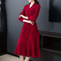 Dress Spring 2020 M,L,XL,2XL,3XL longuette singleton  Long sleeves commute V-neck middle-waisted Dot double-breasted A-line skirt bishop sleeve Others 40-49 years old Type A Retro Pleat, web 81% (inclusive) - 90% (inclusive) Crepe de Chine polyester fiber