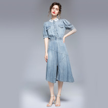 Dress Summer 2020 longuette singleton  Short sleeve Elastic waist Solid color Single breasted Irregular skirt puff sleeve Others 25-29 years old Type A Other / other 31% (inclusive) - 50% (inclusive) Denim cotton