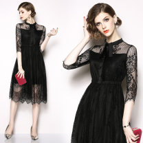 Dress Spring 2020 M,L,XL,2XL,3XL longuette singleton  three quarter sleeve street middle-waisted Single breasted A-line skirt routine Others Type A Lace Europe and America