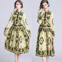 Dress Autumn 2020 yellow M,L,XL,2XL Middle-skirt singleton  Long sleeves commute Polo collar middle-waisted Single breasted Pleated skirt routine Others Type A court 81% (inclusive) - 90% (inclusive) other Cellulose acetate
