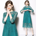Dress Spring 2020 Green (hollow out and see through the wave edge of the 7 / 4 sleeve) S,M,L,XL,2XL Mid length dress singleton  three quarter sleeve Crew neck High waist Solid color zipper A-line skirt Type A Lace