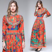 Dress Autumn of 2019 Picture color M,L,XL,2XL longuette singleton  Long sleeves Crew neck middle-waisted shirt sleeve 25-29 years old