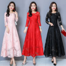 Dress Autumn of 2019 Black, pink, red M,L,XL,2XL,3XL,4XL,5XL longuette Nine point sleeve middle-waisted Hollowing out