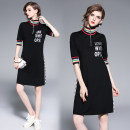 Dress Spring 2020 Black (stripe high collar Sequin letters) S,M,L,XL,2XL Mid length dress singleton  elbow sleeve street Half high collar stripe zipper Europe and America