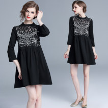 Dress Autumn of 2019 M,L,XL,2XL Middle-skirt singleton  three quarter sleeve street stand collar Loose waist other other Big swing routine Others 25-29 years old Type A Embroidery, lace Lace cotton Europe and America