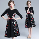 Dress Autumn 2020 Elastic back zipper with lining (3 / 4 sleeve embroidery) S,M,L,XL,2XL Middle-skirt singleton  three quarter sleeve street V-neck High waist Decor zipper Big swing other Others 25-29 years old Type A cotton